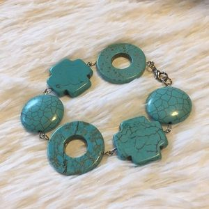 Jewelry - Sterling Turquoise Circle & Cross Bracelet